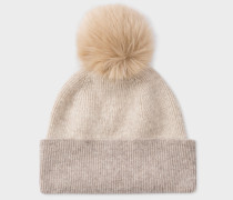 Ecru And Cream Pom-Pom Wool Hat