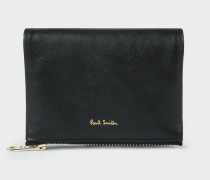 Small Black Leather Press-Stud Purse With Metallic Interior