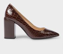 Brown Mock-Croc Leather 'Lin' Heels