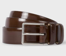 Chocolate Brown High-Shine Leather Double Keeper Belt