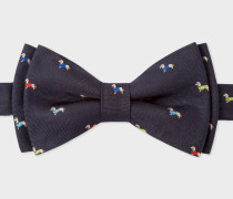 Navy Silk Bow Tie With Embroidered Dachshunds