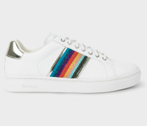 White Glitter 'Artist Stripe' Leather 'Lapin' Trainers With Silver Trims