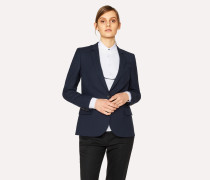 Navy Wool-Hopsack Blazer With 'Enso Floral' Lining