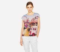 Grey Sleeveless T-Shirt With 'Fairground' Print
