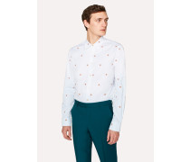 Slim-Fit Sky Blue Embroidered 'Sun' Cotton Shirt
