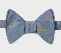 Grey Embroidered 'Sunglasses' Motif Self-Tie Silk Bow Tie
