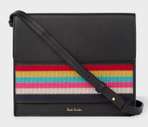 Black Leather Cross-Body Bag With Multi-Coloured Stripe Embroidered Detail
