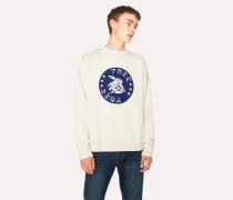 Ecru Red Ear 'Rabbit Badge' Print Sweatshirt