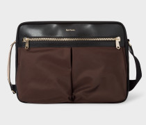 Black And Chocolate Brown Canvas Messenger Bag