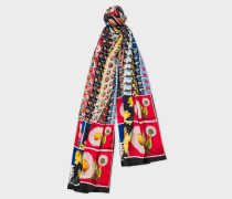 Long 'Stamps' Print Silk Scarf