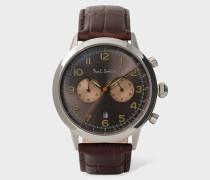 Brown 'Precision' Chronograph Watch