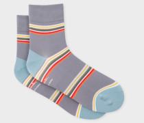 Grey Block-Stripe Cycling Socks