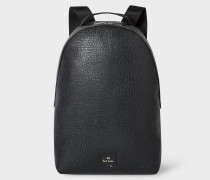 Black Grained Leather Backpack