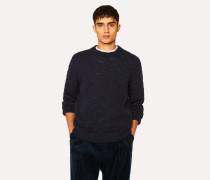 Navy Red Ear Slub-Knit Sweater