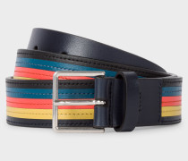 'Bright Stripe' Colour Band Leather Belt