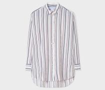 White Thin Stripe Cotton-Blend Shirt