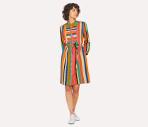 Multi-Colour Stripe Henley Shirt Dress