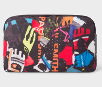 'Cycle Gloves' Print Canvas Wash Bag