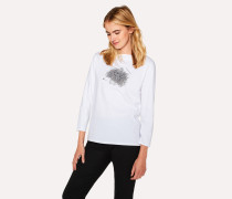 White 'Hedgehog' Print Long-Sleeve T-Shirt