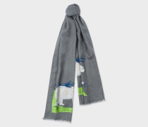 Grey 'Arctic Animals' Embroidered Cotton Scarf