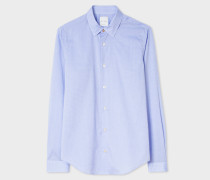 Super Slim-Fit Sky Blue Mini Dot Print Shirt With 'Artist Stripe' Cuffs