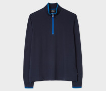 Navy Half-Zip Cotton Sweater With Tonal Tipping