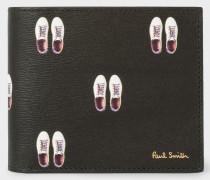 Black Leather 'Basso' Print Billfold Wallet