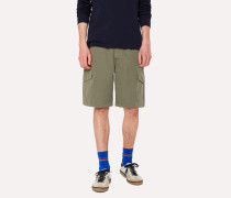 Washed Green Cotton-Linen Cargo Shorts