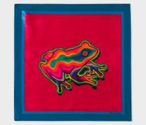 Red 'Dreamer Frog' Print Silk Pocket Square