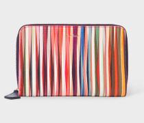 Medium 'Crossover Stripe' Leather Zip-Around Purse