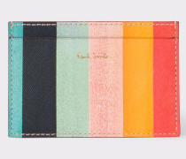 Leather 'Artist Stripe' Print Credit Card Holder