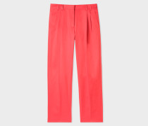 Coral Stretch-Cotton Pleated Trousers