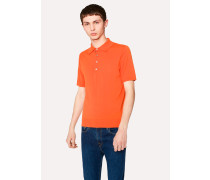 Orange Knitted Cotton Polo Shirt With Contrasting Placket Detail