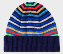 Navy Striped Wool Beanie Hat