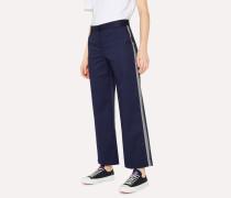 Navy Stripe Detail Cotton-Blend Trousers