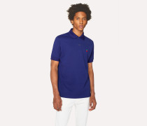 Slim-Fit Blue Cotton-Piqué Polo Shirt With Embroidered 'Cherry'