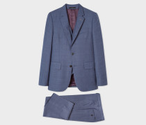 The Soho - Tailored-Fit Slate Blue Check Three-Piece Suit