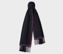Navy Check Double-Sided Wool Scarf