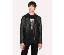 Heavy Grained-Leather Asymmetric-Zip Biker Jacket