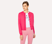 Fuchsia Wool Cardigan With Red Trims