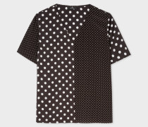 Black And White Polka Dot V-Neck Top
