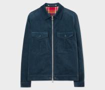 Slate Blue Corduroy Stretch-Cotton Patch-Pocket Jacket