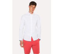 White Stretch-Cotton Shirt With 'Cycle Stripe' Cuff Lining