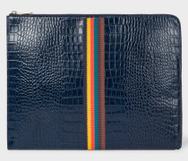 Blue 'Bright Stripe' Mock-Croc Leather Document Pouch