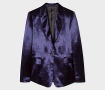 Slim-Fit Navy Satin Tuxedo One-Button Blazer