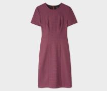 Maroon Check Wool-Stretch Shift Dress
