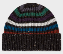Black Donegal Stripe Wool Beanie Hat