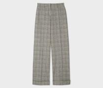 Grey Prince Of Wales Motif Cotton-Blend Wide Leg Trousers