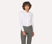 White Slim-Fit Stretch-Cotton Shirt With 'Cycle Stripe' Cuff Linings