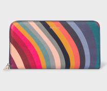 Large 'Swirl' Print Leather Zip-Around Purse